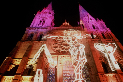 FRANCE (Chartres) Light show on cathedral
